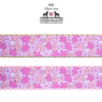 DOG COLLAR - TINY FLOWERS IN PINK AND PEACH